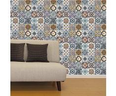 Walplus com-wm10008 (FlexiPlus mediterráneo Azulejos Adhesivo Decorativo para Pared, Vinilo, 63,5 x 15 x 15 cm)