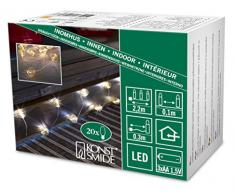Konstsmide LED guirnalda, en color dorado-globos de alambre, 20 diodos de luz blanca cálida, funciona con pilas, cable transparente, 3 x AA 1,5 V no 3154-803