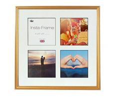 Inov8 16 x 40,64 cm Insta-Frame Marco para Instagram 4/de Estampado a Cuadros de Fotos con paspartú Blanco y Negro con Borde, 600 Dorado