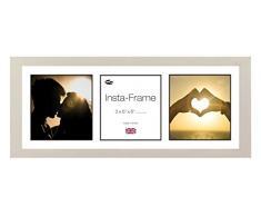 Inov8 21 x 20,32 cm Insta-Frame Marco para Instagram 3/de estampado a cuadros de fotos con paspartú blanco y negro con borde, 2 unidades, Gris