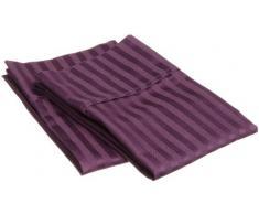 Superior - Par de fundas de almohada 51 x 76 cm, de algodón de 400 hilos, color morado ciruela a rayas