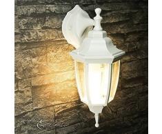 Lámpara de pared exterior rústica colganteLyon en blanco y gris, IP44 230V E27, lámpara de pared exterior de aire nostálgico para jardín, escaleras, patio