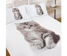 Dreamscene – lujosamente suave Animal de gato funda de edredón juego de cama con fundas de almohada de cama de matrimonio, 5 piezas, multicolor, cama individual