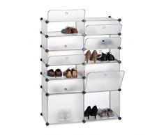 Relaxdays Zapatero Modular con 12 Compartimentos, Plástico, Transparente, 125 x 94 x 37 cm