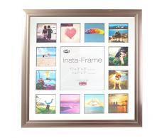 Inov8 16 x 40,64 cm Insta-Frame Marco para Instagram 13/DE Estampado a Cuadros de Fotos con paspartú Blanco y Negro con Borde, Peltre 53