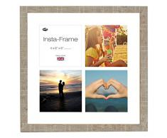 Inov8 16 x 40,64 cm Insta-Frame Marco de Fotos de Madera para 4 Instagram/de Estampado a Cuadros de Fotos con paspartú Blanco y Blanco con Borde, 2 Unidades, Piedra
