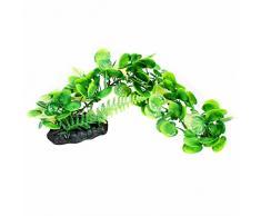 Sourcingmap Plástico Acuario Artificial Agua Planta, 13.4-inch, Verde