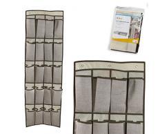 Dcasa Colgar 16 Departamentos Zapateros-Accesorios de almacenaje de Armario Artículos para el hogar Unisex Adulto, Beige, 44x135cm-16 dptos