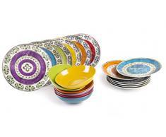 Excelsa ETNO Color - Vajilla de 18 Piezas, Porcelana, Multicolor