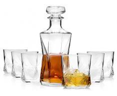 Blues Poon Whisky Jarra con Vasos 7 piezas | Genie respetuoso con el Whisky Set Estilo Moderno para pelar | cantidad de relleno Decantador 1,0 l | cantidad de relleno vasos 330 ml