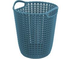 CURVER Papelera Knit, plástico, Azul, 24x 23cm