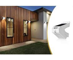 LED LOVERS Foco de luz LED solar, Lámpara solar para exteriores, Luz nocturna y Sensor de movimiento, Luz rotativa, Inalámbrica, Color gris y negro, 131 x 97 x 94 mm