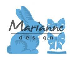 Marianne Design LR0519 Creatables Plantillas de Corte y Embossing, Conejo de Pascua con Lazo, para Proyectos de Manualidades de Papel, Metal, Azul Claro, 16,1 x 11,4