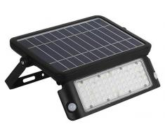 Kobi - Foco de exterior de 10 W con panel solar integrado MHC, negro