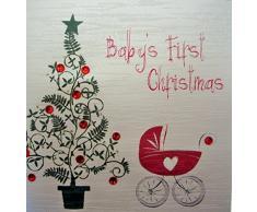 White Cotton Cards First Babys Christmas tarjeta de Navidad hecha a mano (árbol & código fp52) cochecito