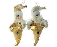 WeRChristmas - Bolsas para chocolate para árbol de Navidad (23 cm), diseño de Papá Noel y muñeco de nieve, color beige y dorado