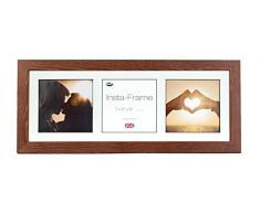 Inov8 21 x 20,32 cm Insta-Frame Kayla marco para Instagram 3/de estampado a cuadros de fotos con paspartú blanco y negro con borde, 2 unidades, diseño de roble