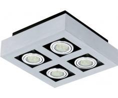 Eglo LOKE 1 GU10 5W Metálico iluminación de techo - Lámpara (Dormitorio, Cocina, Salón, Metálico, IP20, Plaza, I, 4 bombilla(s))