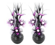 Flourish 796167 - Jarrón ovalado con flores artificiales de seda, 75 cm, vidrio, morado/negro, 10x10x32 cm