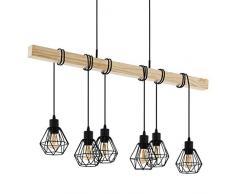 EGLO TOWNSHEND 5 lámpara colgante, 60 W, Negro, marrón