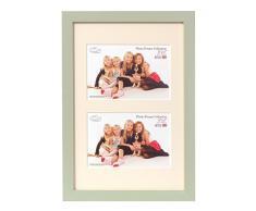 Inov8 - Marco para fotos (4 unidades, madera de pino, 20,3 x 15,2 cm, fabricado en Reino Unido, para fotos de hasta 15,24 x 10,16 cm), color verde claro