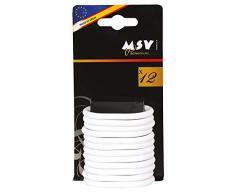 MSV Anillos de Cortina de Ducha Blanco Premium-Lote de 12, 5.8 X 4.5