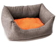 Croci mascota cama doble, 70 x 60 cm), color naranja/gris