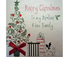White Cotton Cards Merry Christmas to My Brother and Family His tarjeta hecha a mano en forma de árbol de navidad y regalos