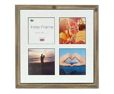 Inov8 16 x 40,64 cm Insta-Frame Marco para Instagram 4/de estampado a cuadros de fotos con paspartú blanco y negro con borde, madera de fresno con rústico