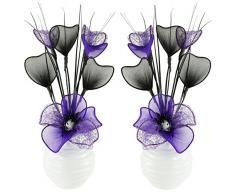 A juego de flores artificiales combinado morado y negro en florero negro, decoraciones de mesa, accesorios para el hogar, regalos, adornos, vidrio, Purple in White Vase, 11.5 x 11 x 32 cm