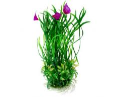 Sourcingmap Tanque De Peces Artificial Planta Flor, 11 pulgadas, Verde/Fucsia