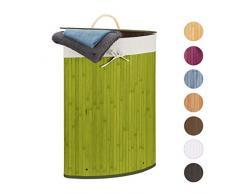 Relaxdays Cesto Ropa Sucia Esquinero, Cubo Colada Plegable con Tapa, Canasta, Bambú, 60 L, 65 x 49,5 x 37 cm, Verde