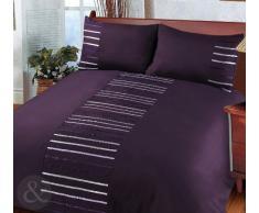 Just Contempo - Juego de funda nórdica y funda de almohada (poliéster), diseño a rayas, poliéster, berenjena (morado, gris), funda de edredón cama individual (infantil)