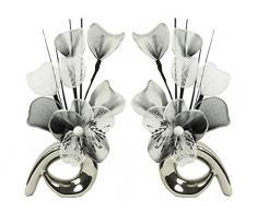 Diseño de flores de 793876 32 cm a juego Mini de remolino de flores artificiales en jarrón, negro/blanco