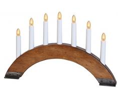 Best Season 24-36 Viking - Candelabro con 7 puntos de luz (fabricado con madera y metal, 27 x 42 cm aprox.), color marrón oscuro