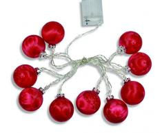 Guirnalda color y Weinberger guirnalda luminosa LED con 10 bolas de Navidad, sin pilas 3 x AAA batteriebbetrieben, cristal, 6 cm, juego de 1, rojo 76822,31
