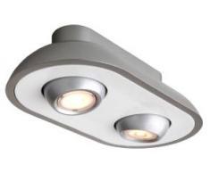 Actebis Peacock 81992127 Energetic - Lámpara LED colgante con atenuación (2 bombillas LED de 14 W, 320 lm, 2700 K, 30000 horas de duración, 300 x 150 x 50 cm), color gris