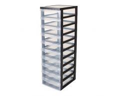 Iris Ohyama, armario de 10 cajones sobre ruedas - Design Chest - DC-010, plástico, negro / transparente, 70 L, 40 x 29 x 100,5 cm
