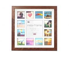 Inov8 16 x 40,64 cm Insta-Frame Kayla Marco para Instagram 13/DE Estampado a Cuadros de Fotos con paspartú Blanco y Negro con Borde, de Roble