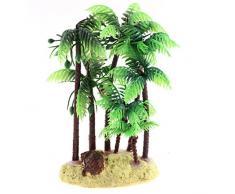 Sourcingmap Tanque De Peces Artificial Acuario Planta acuática Adorno de Palm de coco, 16 cm