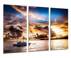 Poster Fotográfico Paisaje en el Mar Atardecer, Barco en el Mar Tamaño total: 97 x 62 cm XXL