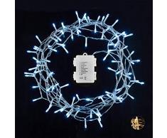 Relaxdays Guirnalda LED, 96 Leds, A Pilas, Interior & Exterior, 8 Modos, Decorativa, Blanco frío, 2,70 x 793 x 6,5 cm