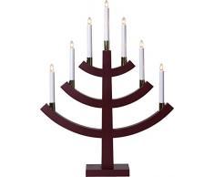 Star 219–31,Gillian, 7de candelabro, madera, rojo, 4.9x 6.4x 9.0cm