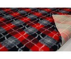 CRS Fur Fabrics Profesional Antideslizante Veterinaria Perro Cachorro Mascota Cama Diamond Check-Rojo
