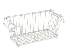 InterDesign York Lyra Cesta de almacenaje | Organizadores de cocina, baño o despensa | Cestas apilables con asas para armario | Metal de color blanco nacarado