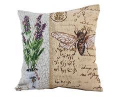 Bino 34024 Provence-Funda de almohada de poliéster y algodón, 40 x 40 x 1 cm