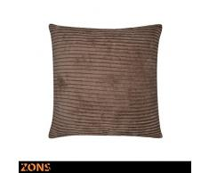ZONS Cojín Design Look Terciopelo 45x 45cm + Acolchado 480G cojín Coche cojín sofá Almohada (3Colores à Choisir) (marrón)