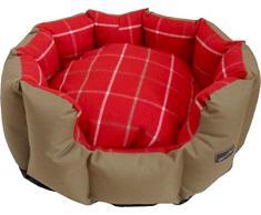 Hem and Boo - Cama Ovalada para Perro, diseño de Cuadros Escoceses, Talla XL