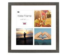Inov8 16 x 40,64 cm Insta-Frame Marco de Fotos de Madera para 4 Instagram/de Estampado a Cuadros de Fotos con paspartú Blanco y Blanco con Borde, marrón