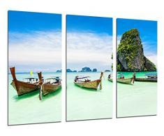 Poster Fotográfico Paisaje Caribe, Playa, Mar, Barcas, Paraiso Tropical Tamaño total: 97 x 62 cm XXL